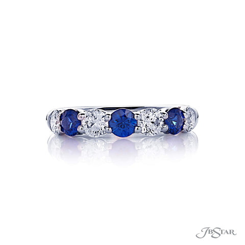 JB Star Platinum Diamond and Sapphire Band