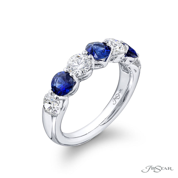 JB Star Platinum Round Diamond and Sapphire Band