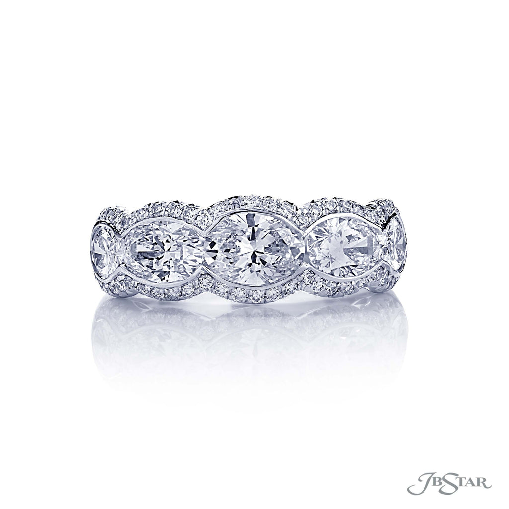 JB Star Platinum 5 Stone Oval Diamond Band with Pave Bezel