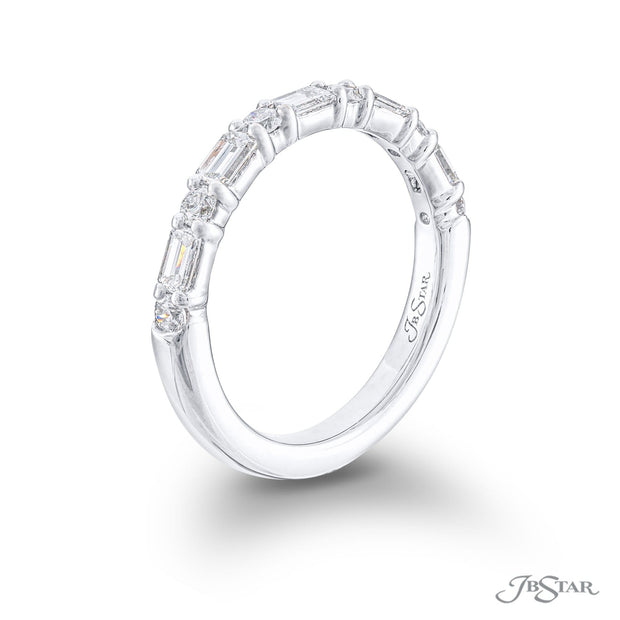 JB Star Platinum Round and Emerald Cut Diamond Band