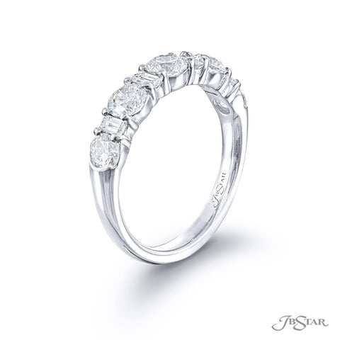 JB Star Alternating Round and Straight Baguette Diamond Platinum Band