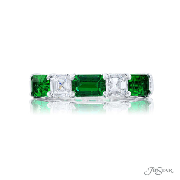JB Star Platinum Emerald and Diamond Band