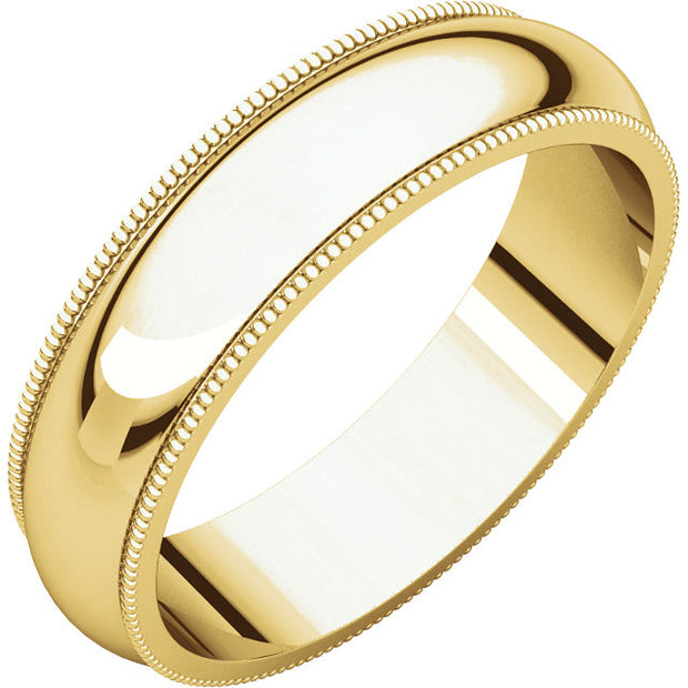 Yellow Gold 5mm Comfort Fit Milgrain Edge Band