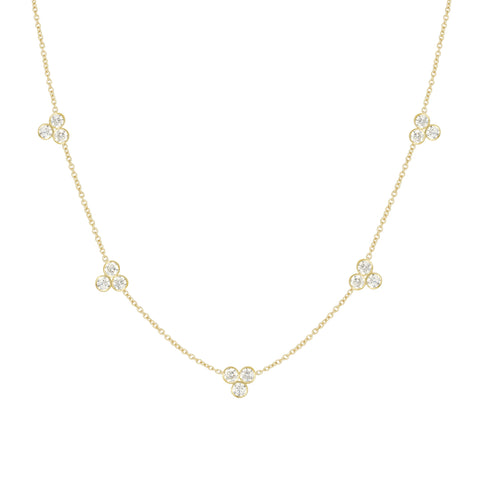 LPL Signature Collection 18k Yellow Gold Large 5 Station Diamond Necklace
