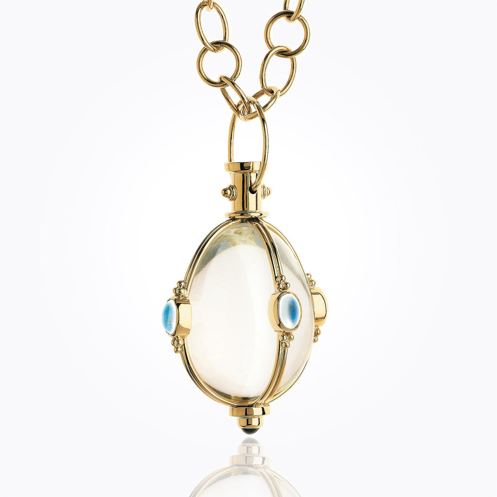 Temple St. Clair 18KT Classic Cabochon Amulet with oval Rock Crystal, Royal Blue Moonstone and Tanzanite