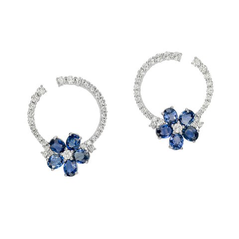 Oval Sapphire Flower Diamond Post Earrings