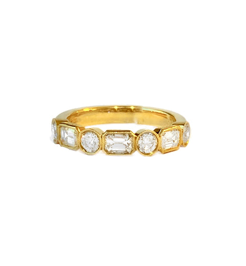 18k Yellow Gold and Diamond Bezel Set Band Ring