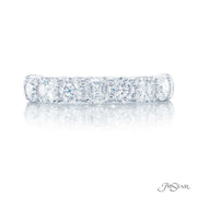 JB Star Platinum Round and Square Emerald Cut Diamond Band