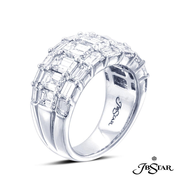 JB Star Platinum Three Row Emerald Cut Diamond Band
