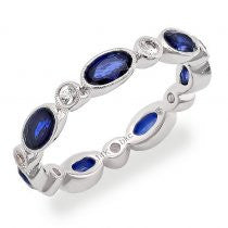 18kt White Gold Blue and White Sapphire Stack Band