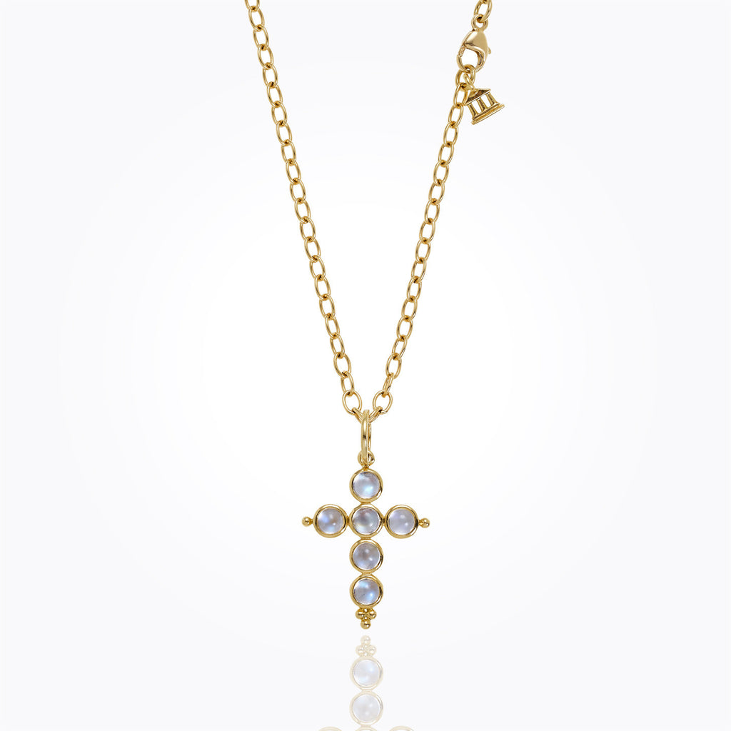 Temple St. Clair 18k Small Cross with Royal Blue Moonstone