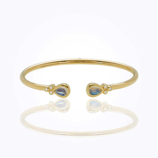 Temple St. Clair 18k Yellow Gold Moonstone and Diamond Bangle
