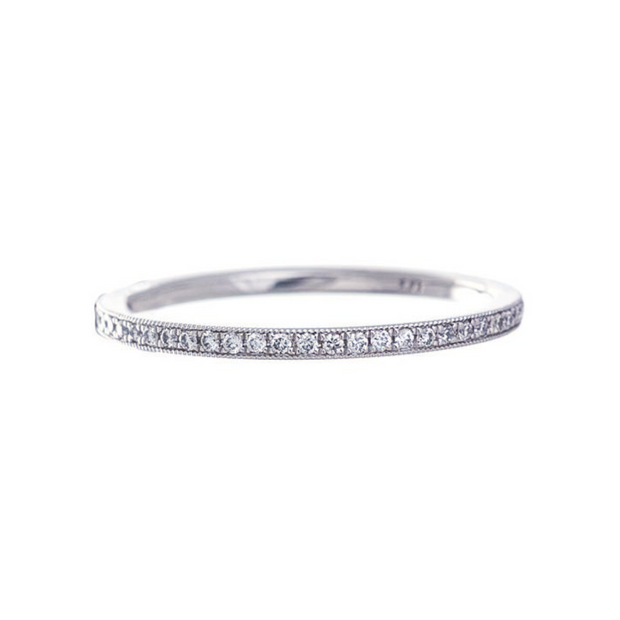 Platinum Bead Set Diamond Eternity Band
