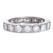 Platinum Art Deco Large Square Eternity Band with Engraving