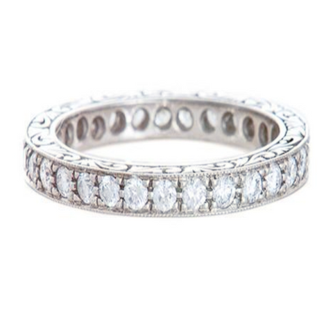Platinum Art Deco Bead Set Diamond Eternity Band with Engraving