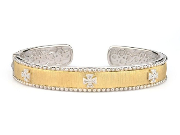 Jude Frances 18k Yellow Gold and Sterling Silver Beaded Cuff