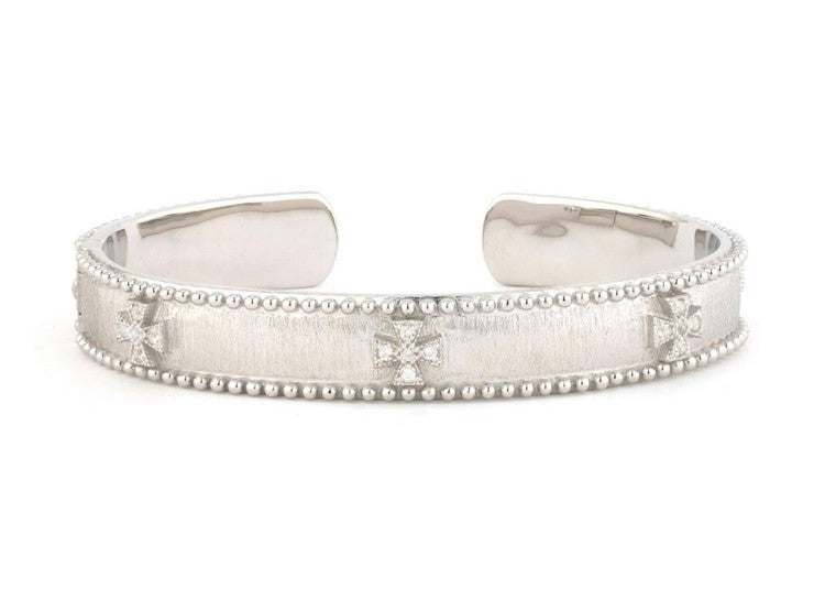 Jude Frances Sterling Silver Narrow Beaded Maltese Cuff