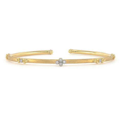 Jude Frances 18K Yellow Gold Provence Quad And Trio Brushed Bangle