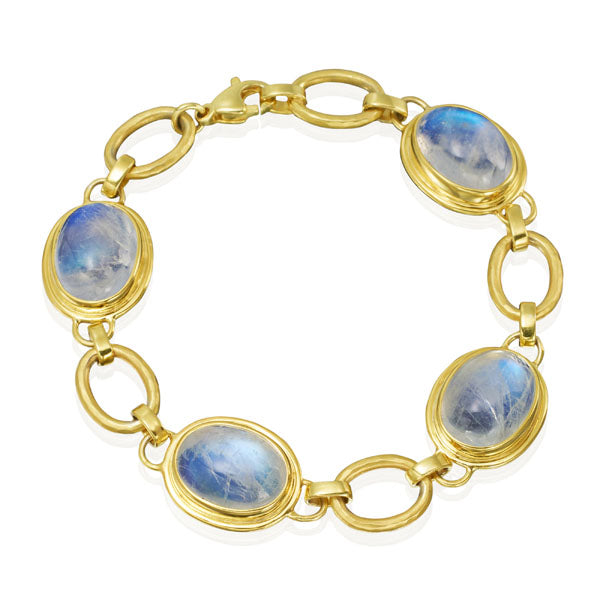 14kt Yellow Gold Oval Moonstone Bracelet