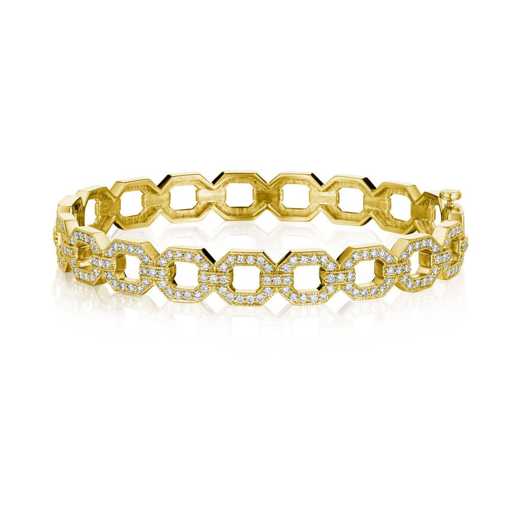 Penny Preville Diamond Octagon Link Bangle Bracelet