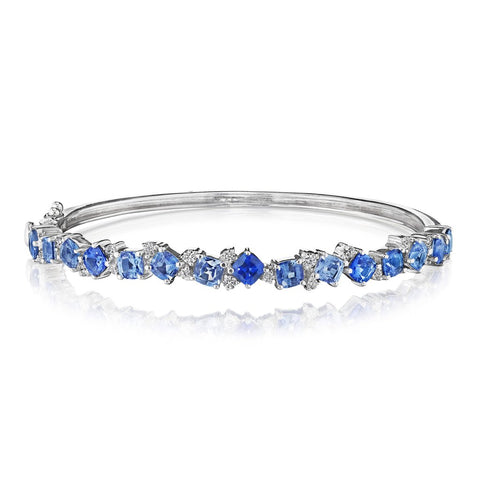 Penny Preville 18k White Gold Cushion Cut Sapphire Cluster Bangle