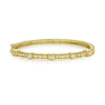 Penny Preville 18kt Yellow Gold Square and Round Thin Hinged Bracelet