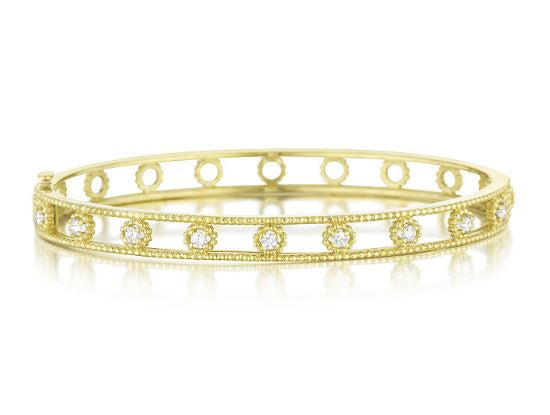 Penny Preville 18kt Yellow Gold Round Cut Diamond Bangle