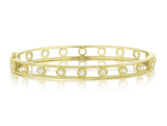 Penny Preville 18k Yellow Gold Round Cut Diamond Bangle
