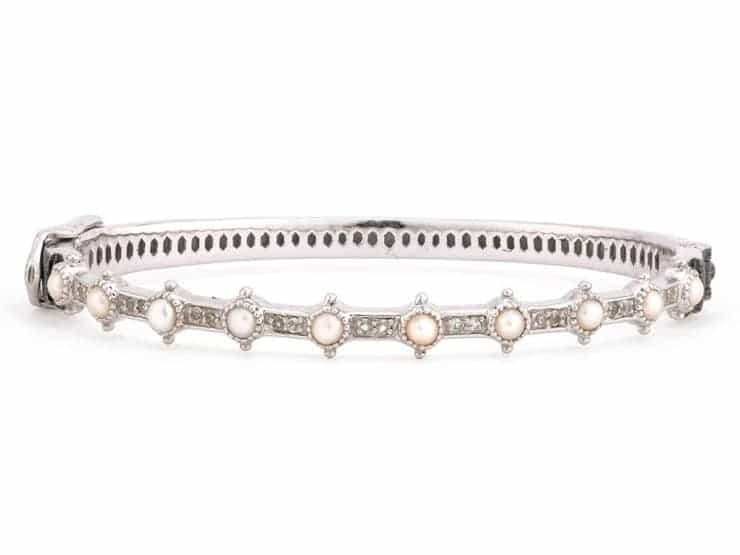 Jude Frances Sterling Silver Lisse Pearl and White Topaz Bangle