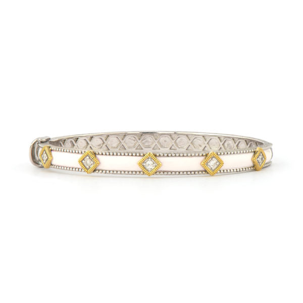 Jude Frances 18K Yellow Gold and Sterling Silver White Ceramic Lisse Kite Shape Bangle