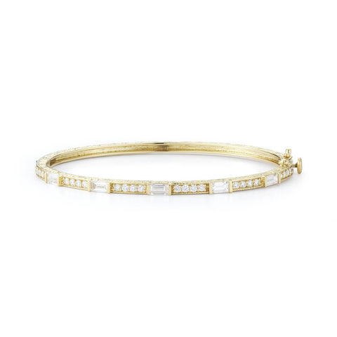 Penny Preville 18k Baguette and Round Diamond Bangle