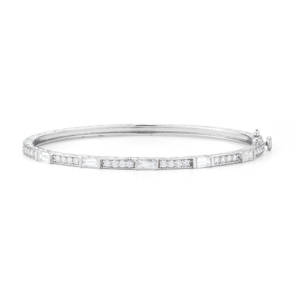Penny Preville 18kt Diamond Baguette and Round Bangle Bracelet