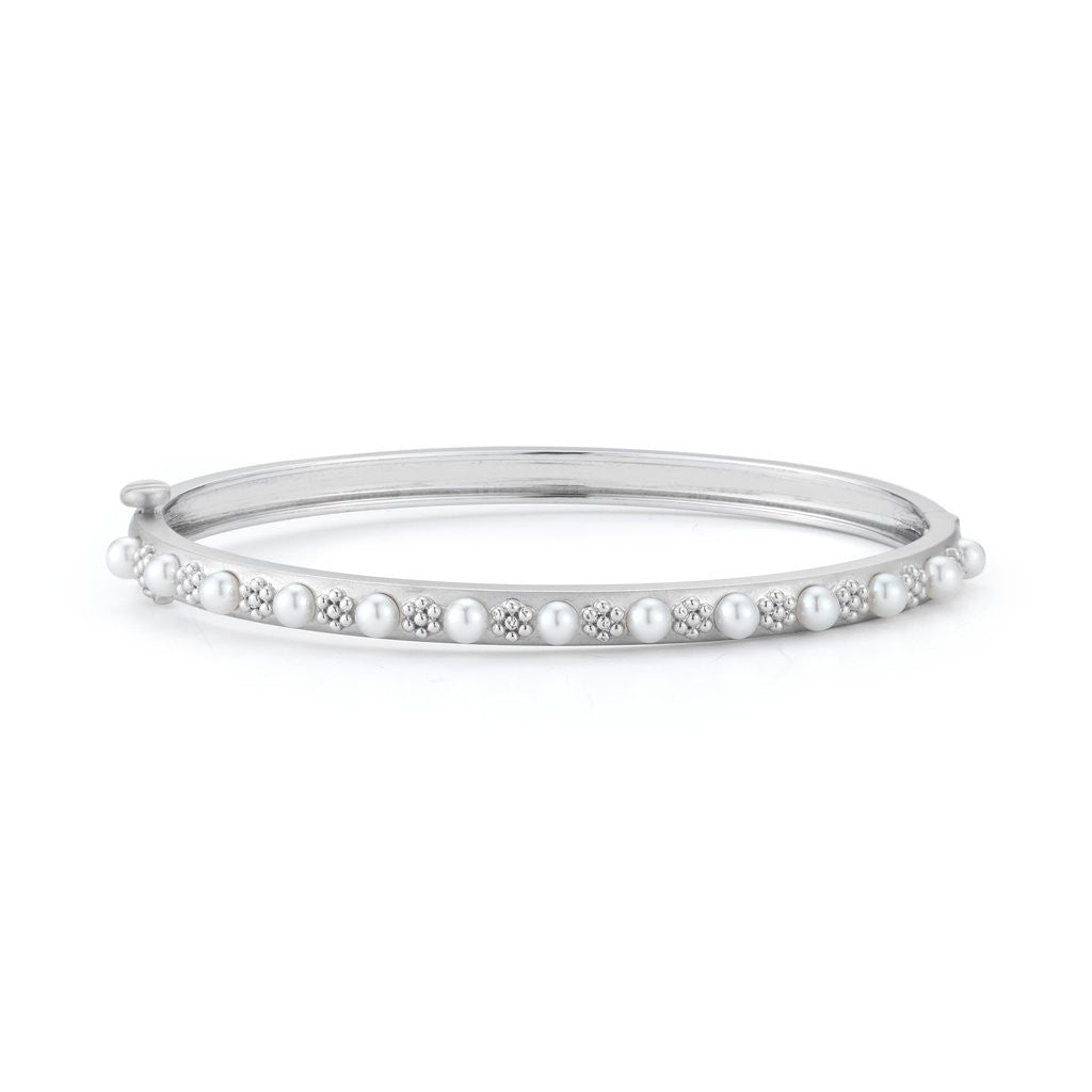 Penny Preville 18kt White Gold Akoya Pearl Bangle Bracelet