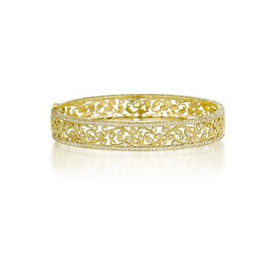 Penny Preville 18kt Yellow Gold Diamond Leaf Bangle
