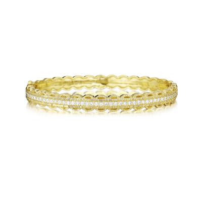 Penny Preville 18kt Yellow Gold Scalloped Edged Bangle with Diamonds