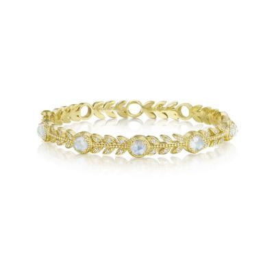 Penny Preville 18kt Yellow Gold Leaf Bangle with Round Faceted Moonstone