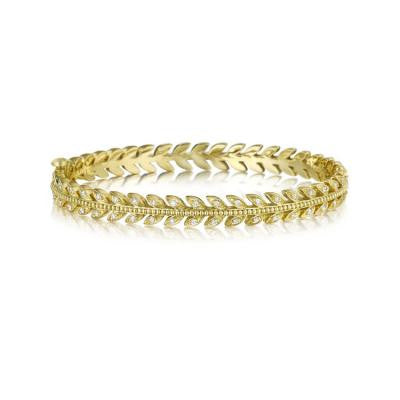Penny Preville 18kt Yellow Gold Leaf Bangle with Diamonds