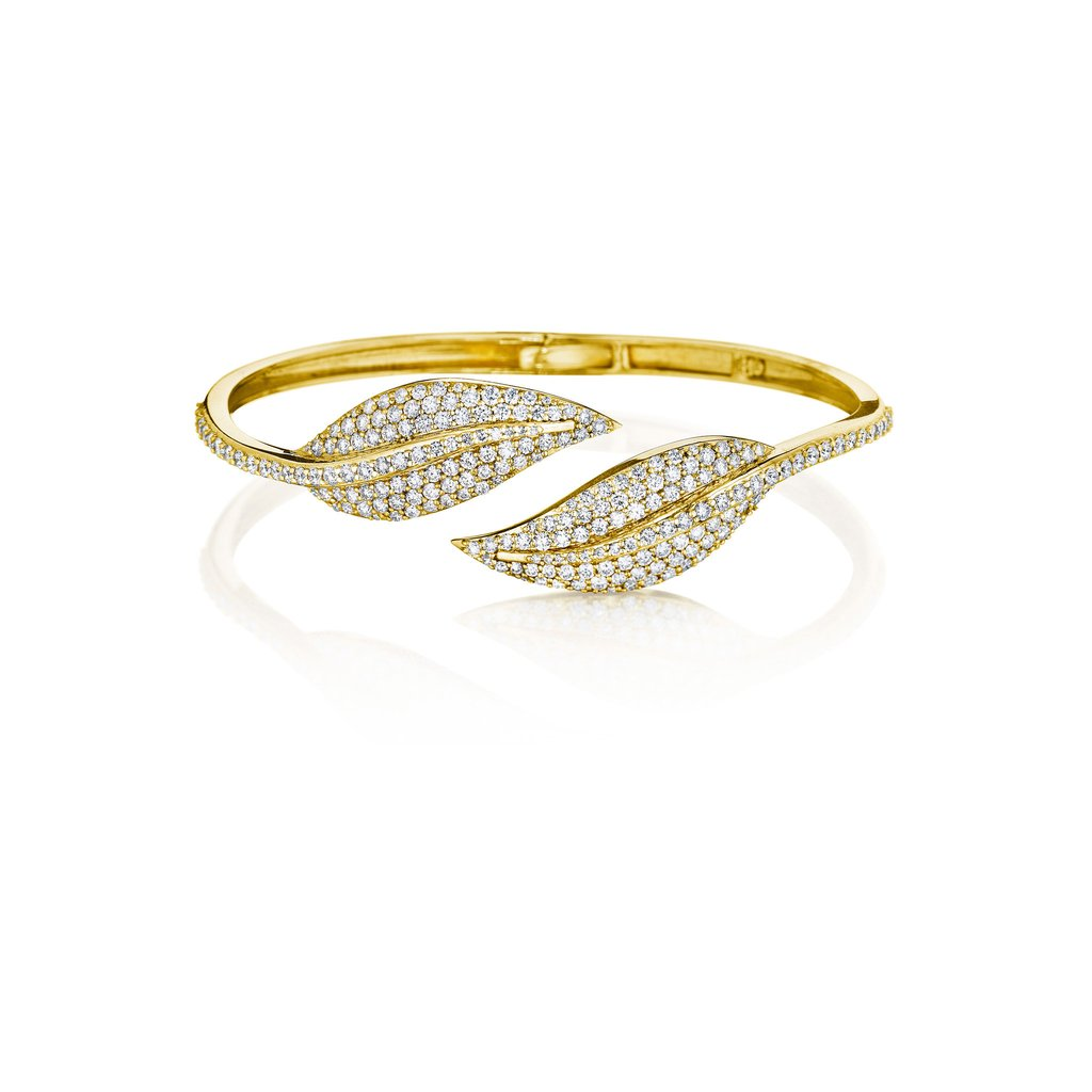 Penny Preville Diamond Yellow Gold Leaf Bypass Bangle Bracelet