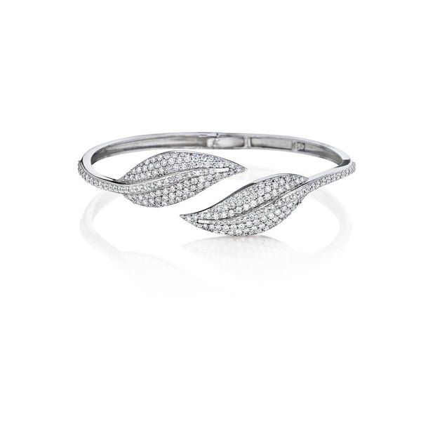 Penny Preville Diamond White Gold Leaf Bangle