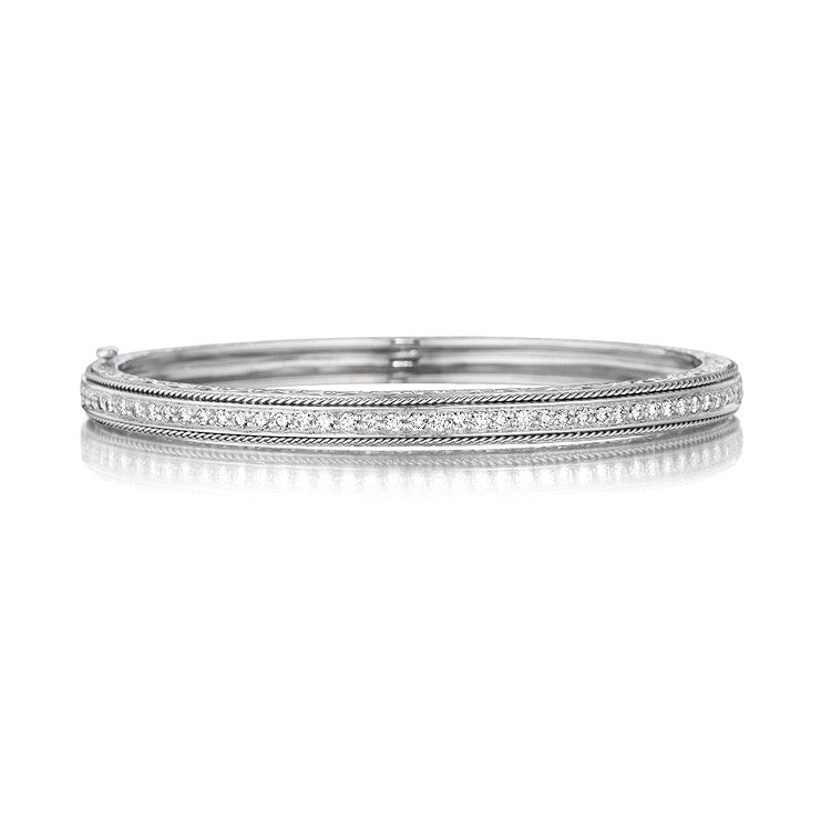 Penny Preville 18kt White Gold Pave Diamond Hinged Bangle