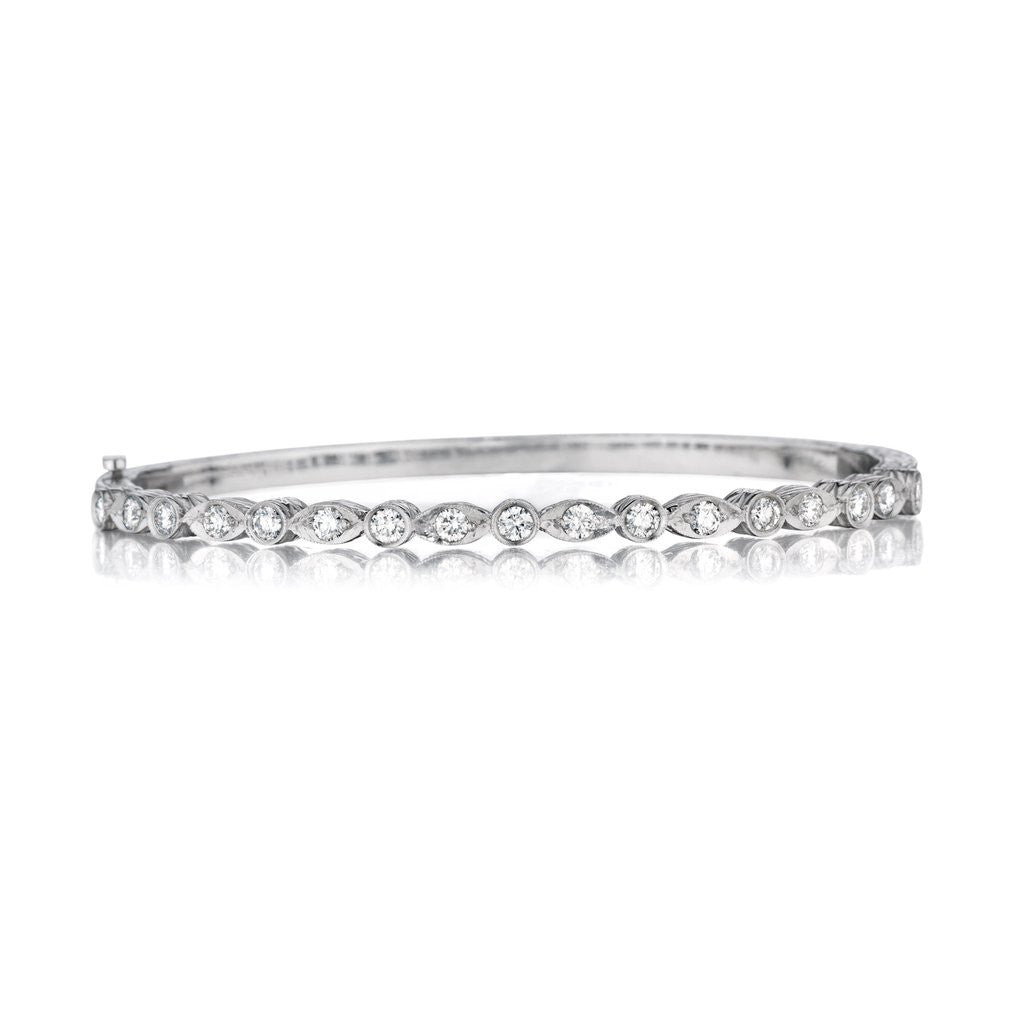 Penny Preville 18kt White Gold Marquise & Round Diamond Bangle Bracelet