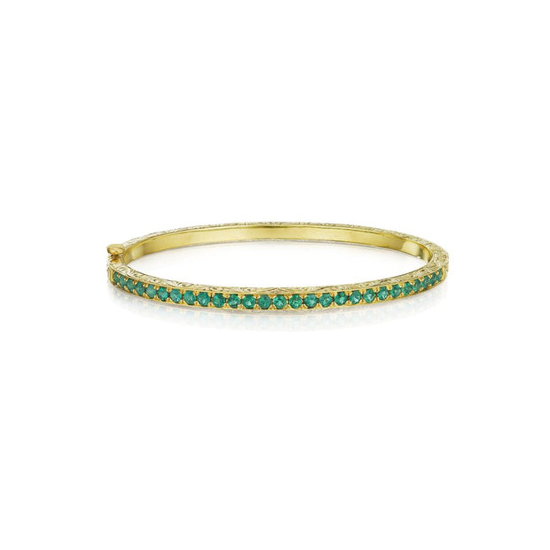 Penny Preville 18k Yellow Gold Emerald Bangle