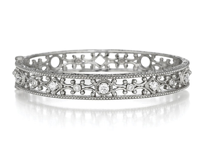 Penny Preville 18kt White Gold Diamond Scroll Bangle
