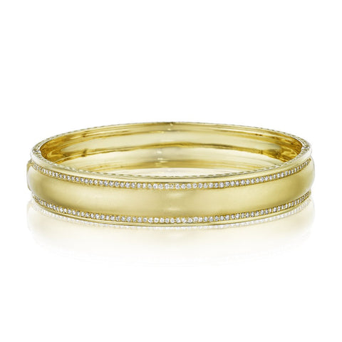 Penny Preville 18k Yellow Gold Engravable Diamond Bangle