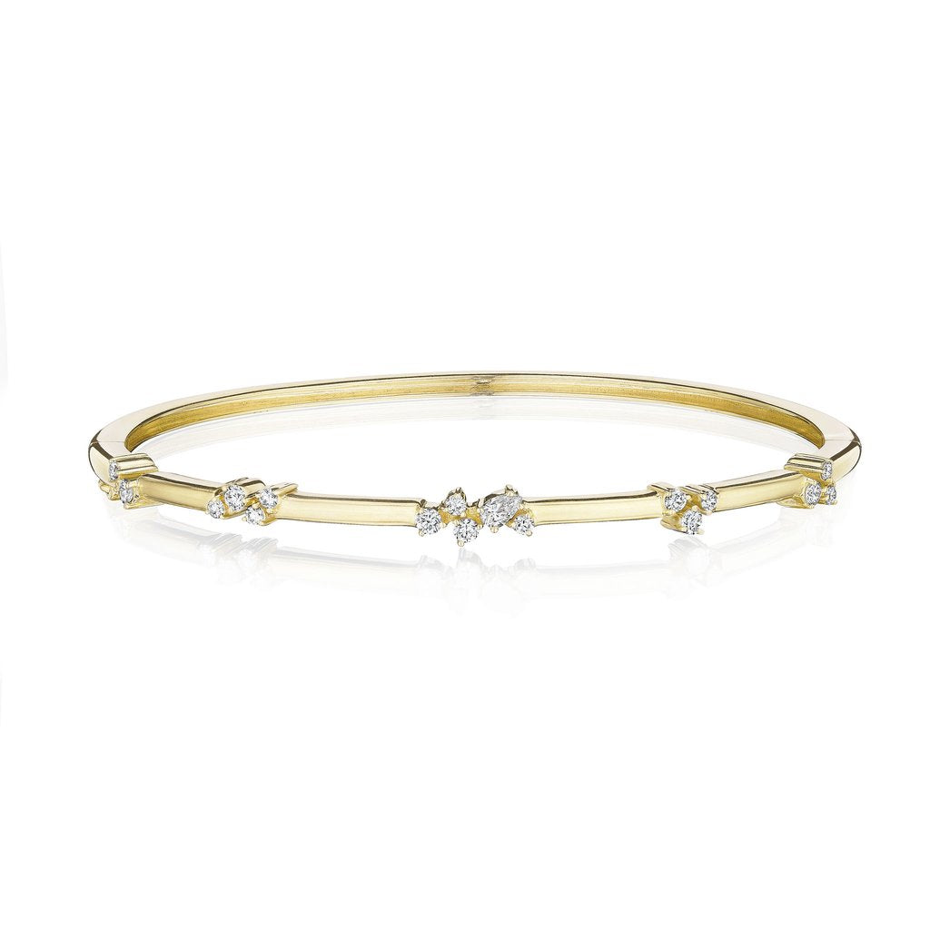Penny Preville 18kt Yellow Gold Stardust Cluster Station Bangle