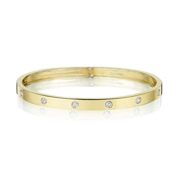 Penny Preville 18k Yellow Gold Round Station Diamond Bangle