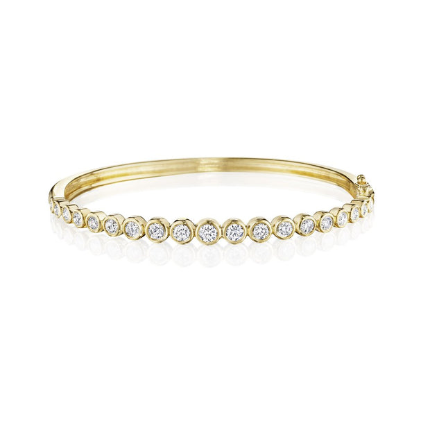Penny Preville 18k Yellow Gold Round Bezel Tapered Bangle