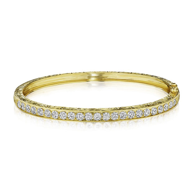 Penny Preville 18k Yellow Gold Engraved Diamond Bangle