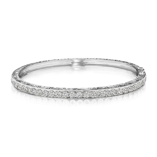 Penny Preville 18k White Gold Engraved Diamond Bangle