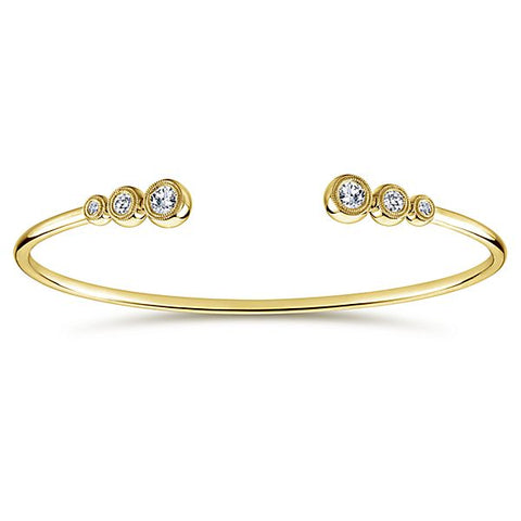 14k Yellow Gold Diamond Bezel Bangle